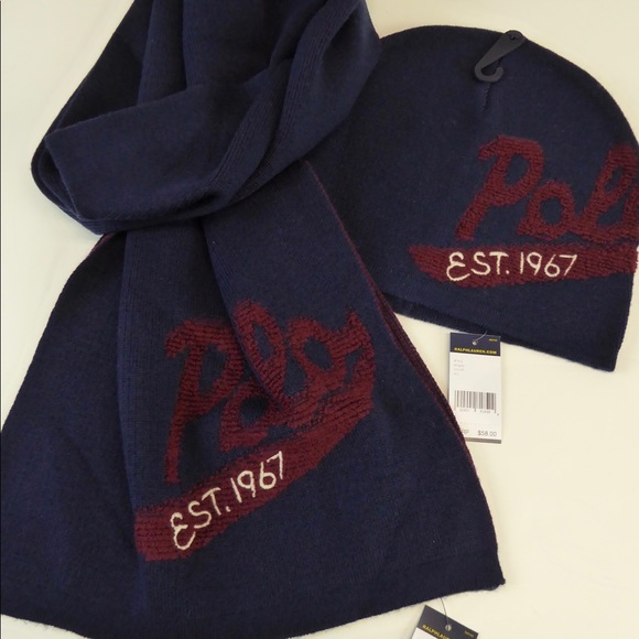 ee65db2d413d9 Polo Scarf Hat Set Collegiate Style NWT Embroidery. NWT. Polo by Ralph  Lauren
